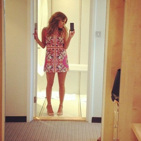 Caroline Flack in ASOS dress at Xtra Factor filming