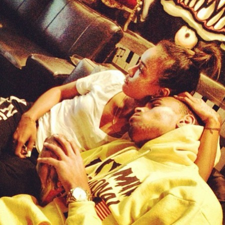 Chris Brown cuddles Karrueche Tran