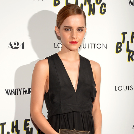 Emma Watson wears plunging LBD at The Bling Ring New York screening