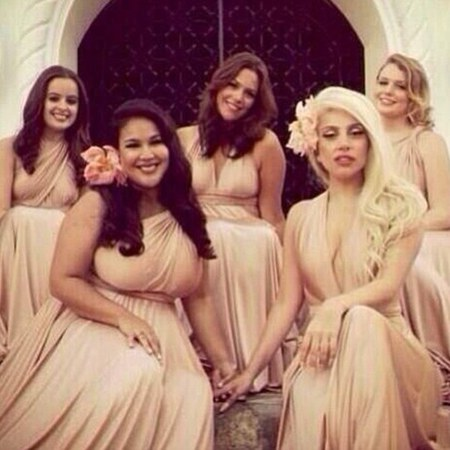 Lady Gaga is bridesmaid at friend's wedding - celebrity bridesmaid dresses - two birds bridesmaid dress - handbag.com