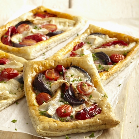 Roasted vegetables and goat's cheese puff pastry tarts