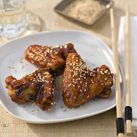 Korean chicken with ginger, garlic, chilli spice