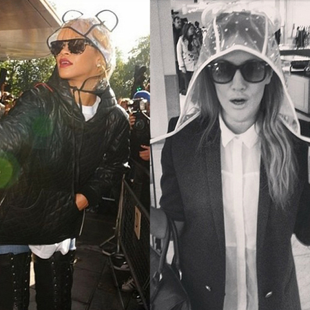 Caroline Flack and Rihanna wear mouse ear rain hoods