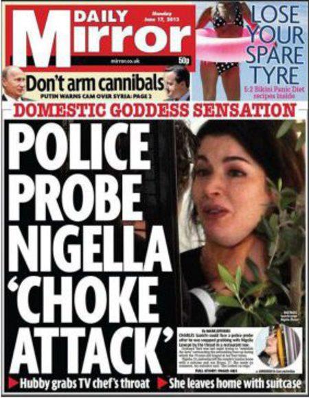 Daily Mirror Nigella Lawson front page