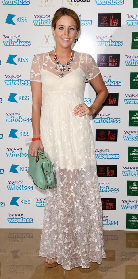 Lydia Bright wears white maxi dress to Yahoo! Wireless party