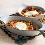 Flamenco Eggs with garlic and parsley