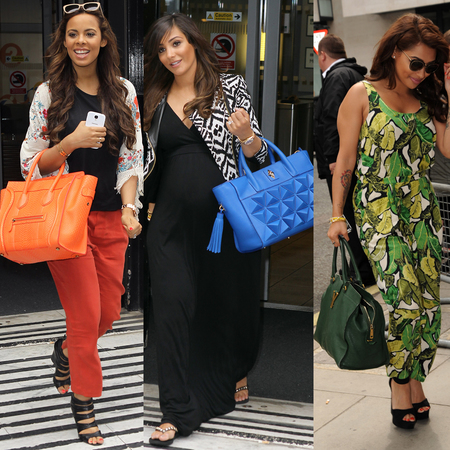 The Saturdays Frankie Sandford, Rochelle Humes, Vanessa White with big colourful handbags