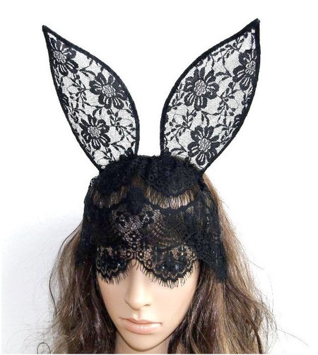 Black lace bunny mask