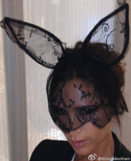 Victoria Beckham in lace bunny mask