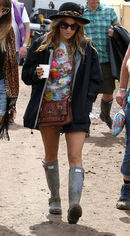 Caroline Flack at Glastonbury Festival 2013 - celebrity festival fashion - what to wear to a festival  - fashion advice - handbag.com