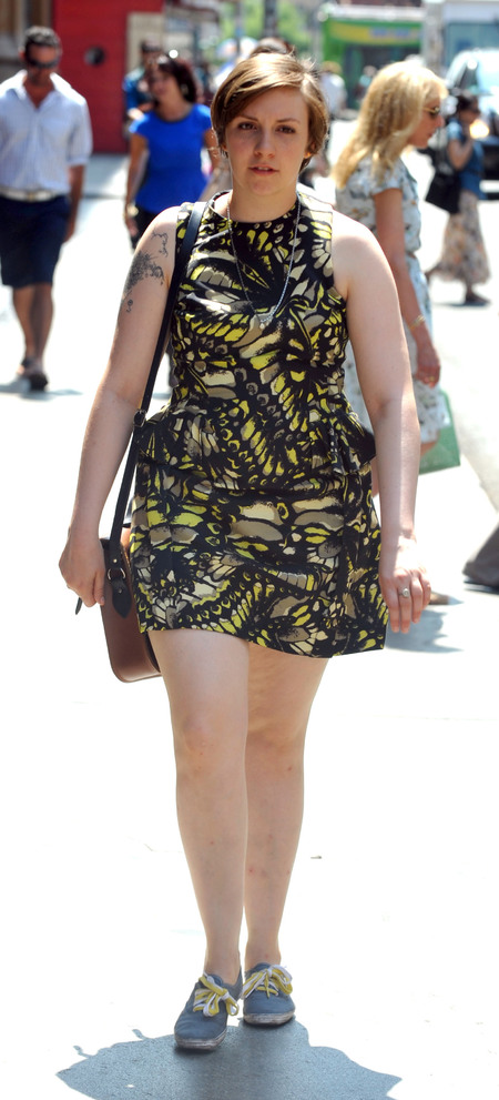 Lena Dunham wears McQ Alexander McQueen to shoot new Girls season three