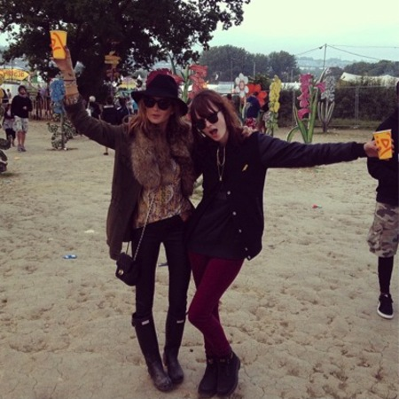 Millie Mackintosh and friend on the final day of Glastonbury festival
