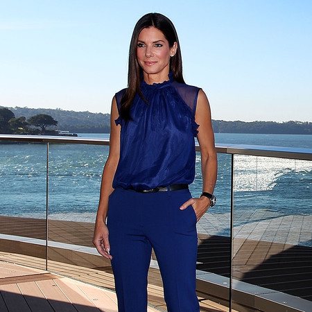 Sandra Bullock wears blue Alberta Ferretti at Sydney Photocall