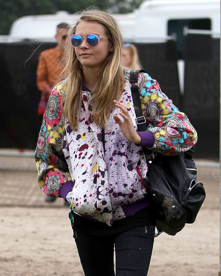 Cara Delevinge at Glastonbury 2013