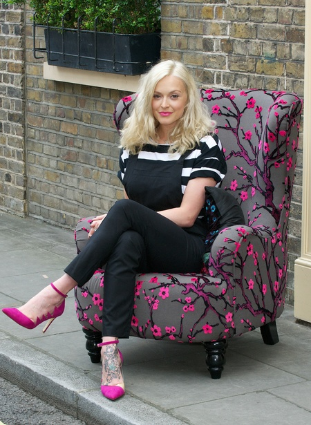 Fearne Cotton for Very.co.uk press photo shoot, cherry blossom chair