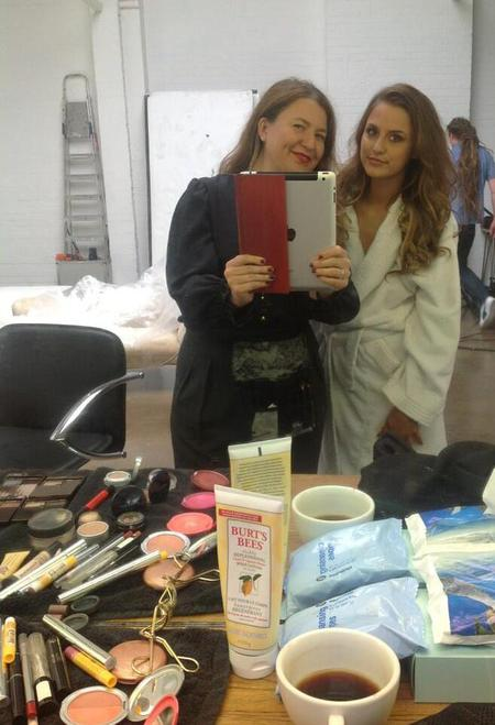 Lucy Watson behind the scenes at PETA shoot