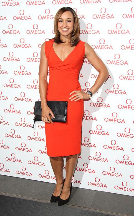 Jessica Ennis in orange Antonio Berardi cocktail dress
