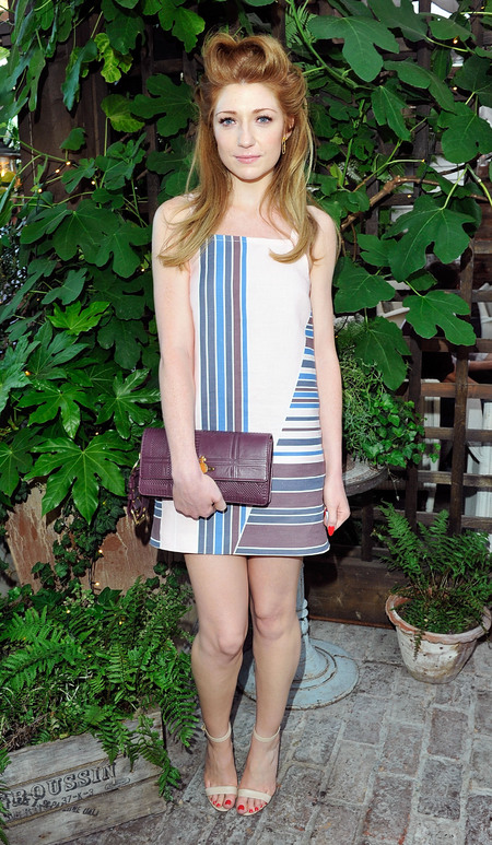 Nicola Roberts styles up stripy Topshop Boutique sundress