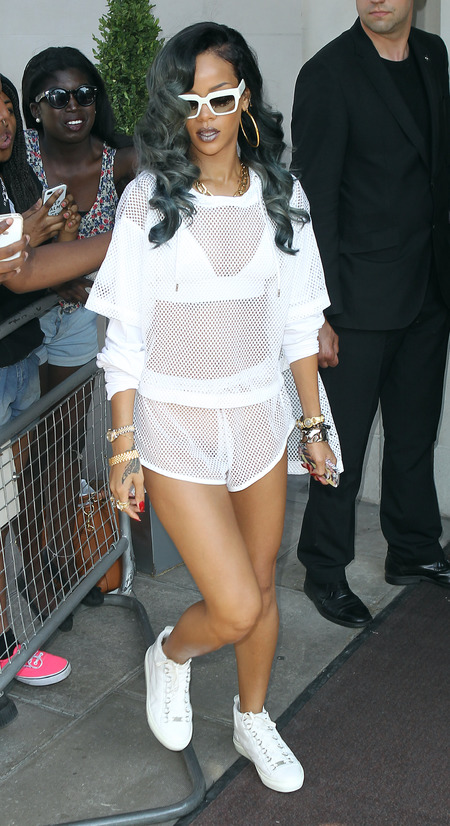 Rihanna in sporty sheer mesh in London