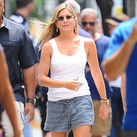 Jennifer Aniston films Squirrels to the Nuts in New York