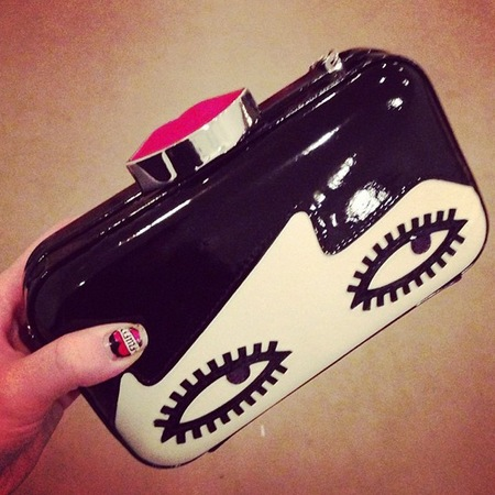 Kate Nash Lulu Guinness Doll Face Fifi clutch bag