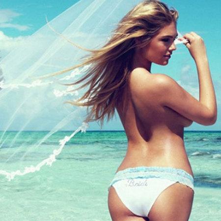 Kate Upton modelling bridal bikinis