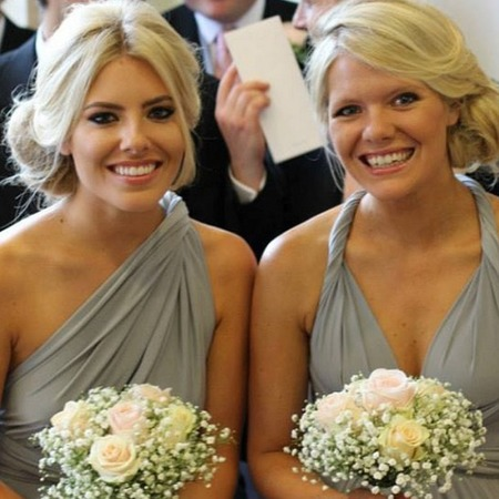 Mollie King as a bridesmaid