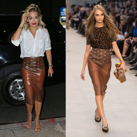 Rita Ora and Cara Delevingne wear same Burberry skirt