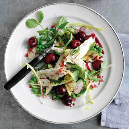 Summer chicken & cherry salad recipe