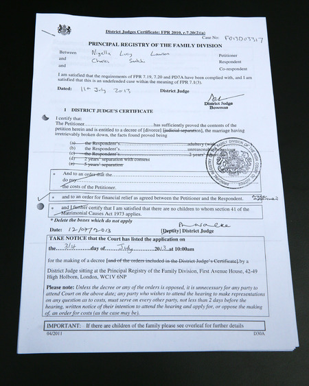 Nigella Lawson official court papers