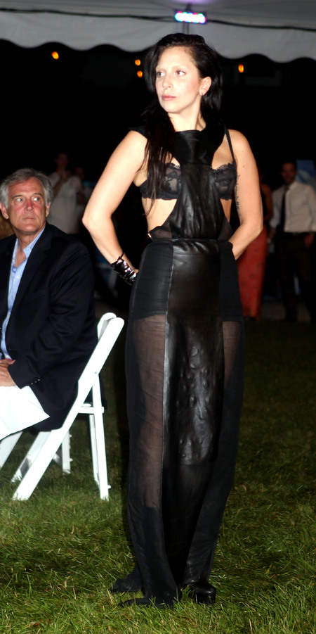 Lady Gaga in leather dress and lace bra at Devil's Heaven Gala Benefit For Robert Wilson's Watermill Center