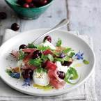 Mozzarella, cherries & prosciutto with basil and mint