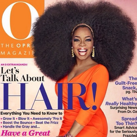 Oprah Winfrey wearing 3.5lb afro wig for September issue of O magazine