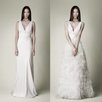 1 dress 2 looks: Detachable feather skirt wedding dress