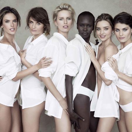 Miranda Kerr, Alessandra Ambrosio, Alek Wek, Isabeli Fontana, Helena Christensen and Karolina Kurkova for Pirelli Calendar 50th Anniversary celebration shoot