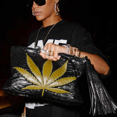Cannabis leaf clutch bag