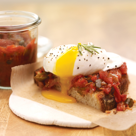 Breakfast Recipe: Rosemary smoked tomato jam and poached egg