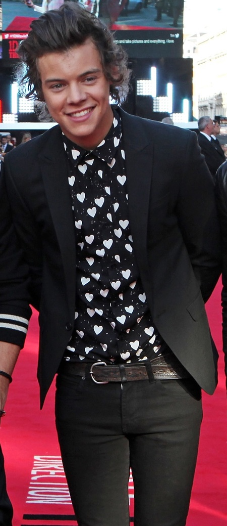 Harry Styles in Burberry heart prints at One Direction This Is Us premiere