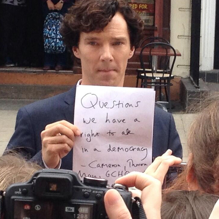 Benedict Cumerbatch on the set of Sherlock