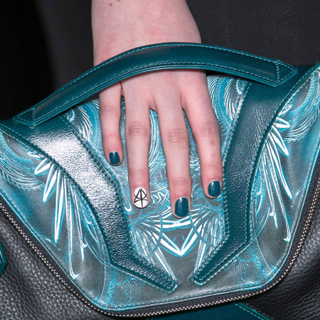 Teal nail art at Jean-Pierre Braganza