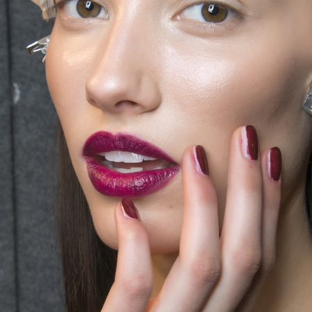 Rich magenta nails at Byblos