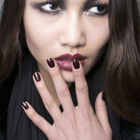Burgundy nails at John Richmond