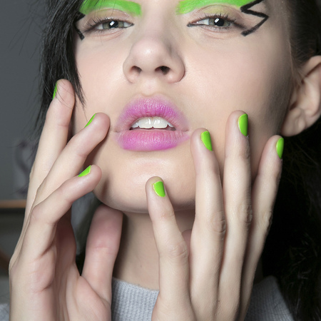 Neon green nails at Jeremy Scott