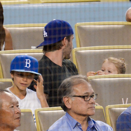 David and Harper Beckham At The Los Angeles Dodgers Game