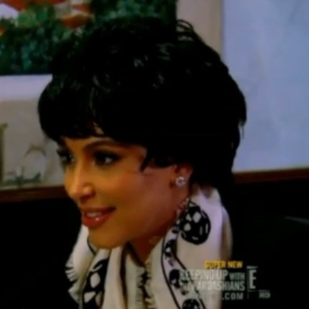Kim Kardashian with Kris Jenner wig on Keeping Up With The Kardashians