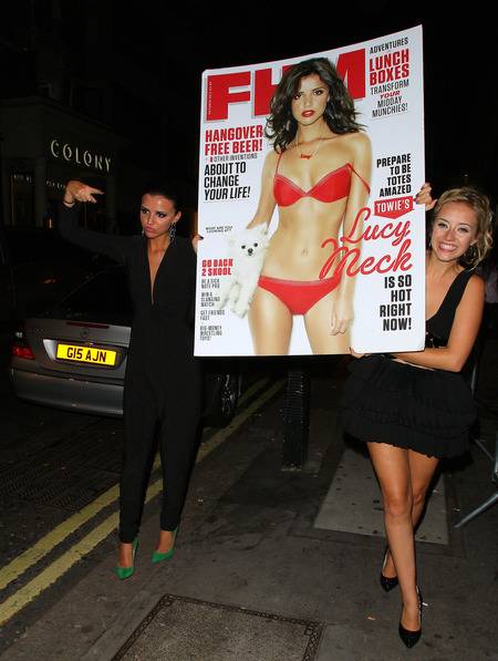 Lucy Mecklenburgh dons deep-V jumpsuit to toast FHM bikini cover