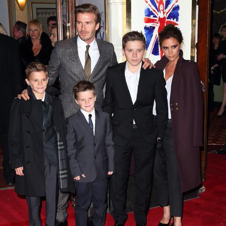 Beckham family at Viva Forever press night