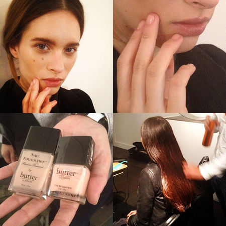 Hair makeup and nails at Emilia Wickstead SS14 LFW