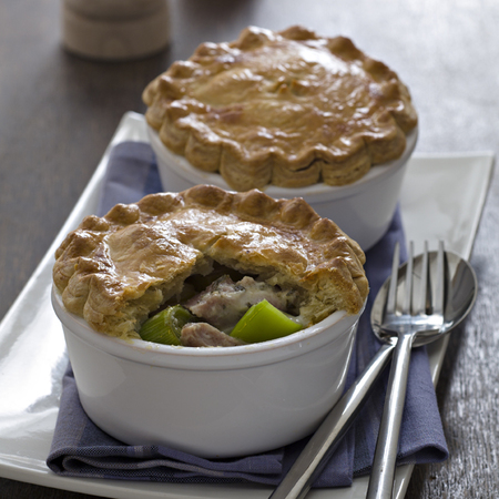 Ham, Leek, Garlic and Herb Pies with homemade pastry