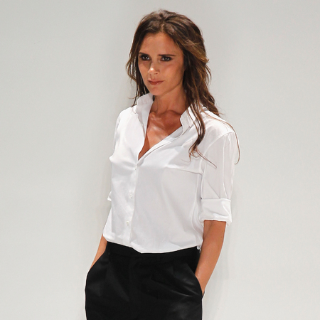 Victoria Beckham shows RTW Spring/Summer 2014 collection at NYFW - white shirt - three quarter trousers - handbag.com